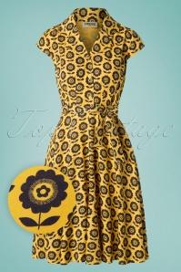 60s Penny Flower Dress in Mustard Yellow