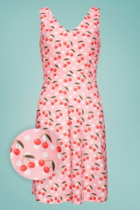 Smashed Lemon 50s Raegen Cherry Polkadot Swing Dress in Pink