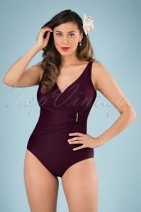 Marc & André Paris 50s Vivienne Swimsuit in Aubergine
