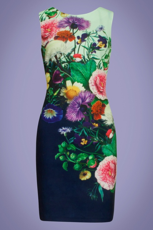 Smashed Lemon 27773 Multi floral pencil dress 20190418 020LW