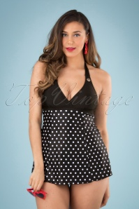 Pussy Deluxe 26579 Swimsuit Black White Polkadot 20190411 040W