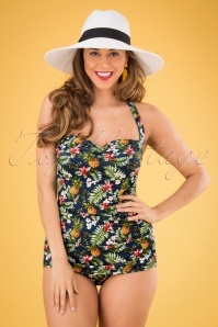 Tropical Flowers Frock One Piece Swimsuit Années 50 en Bleu