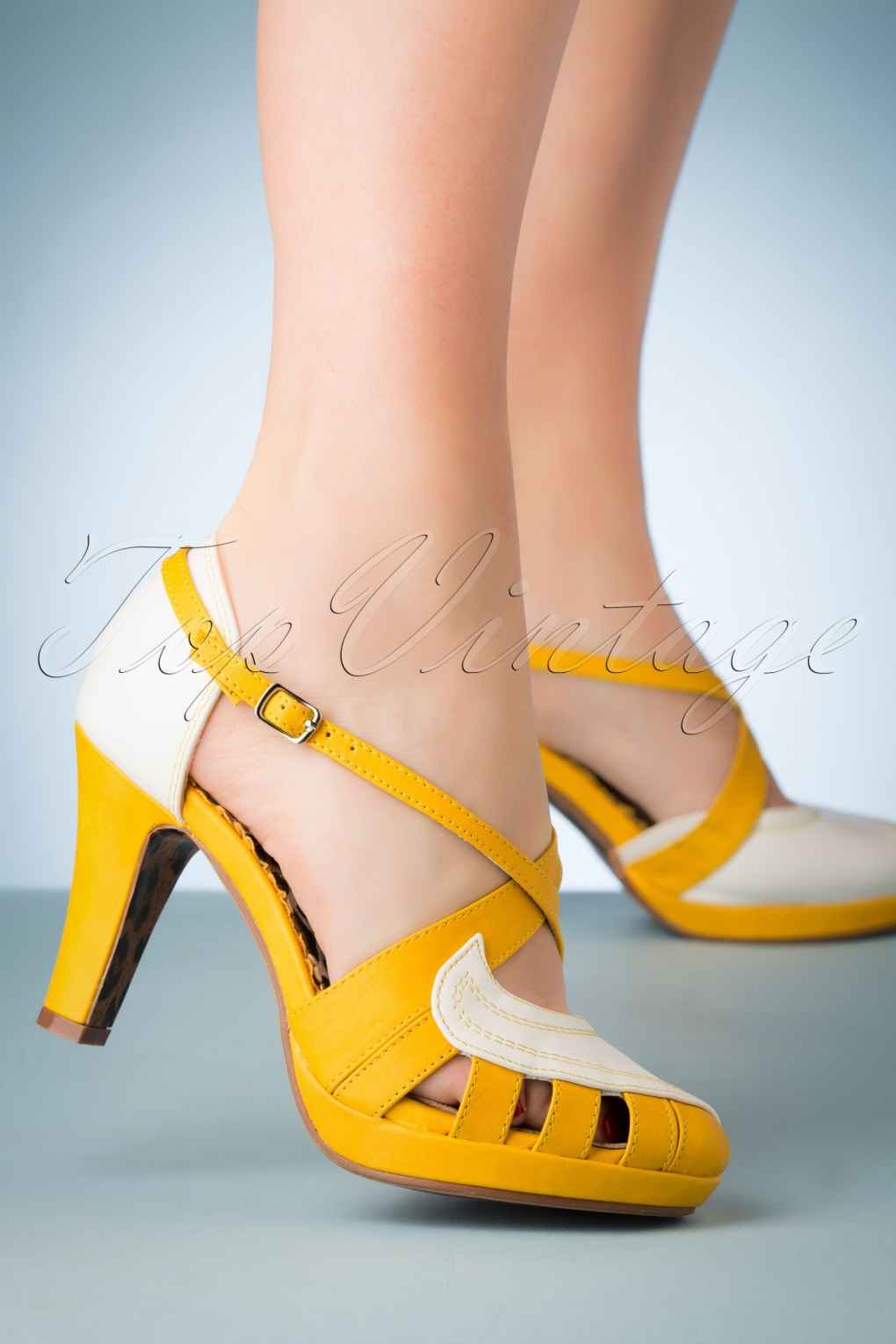 Pin Up Shoes- Heels, Pumps & Flats 50s Angie Pumps in White and Yellow �66.44 AT vintagedancer.com
