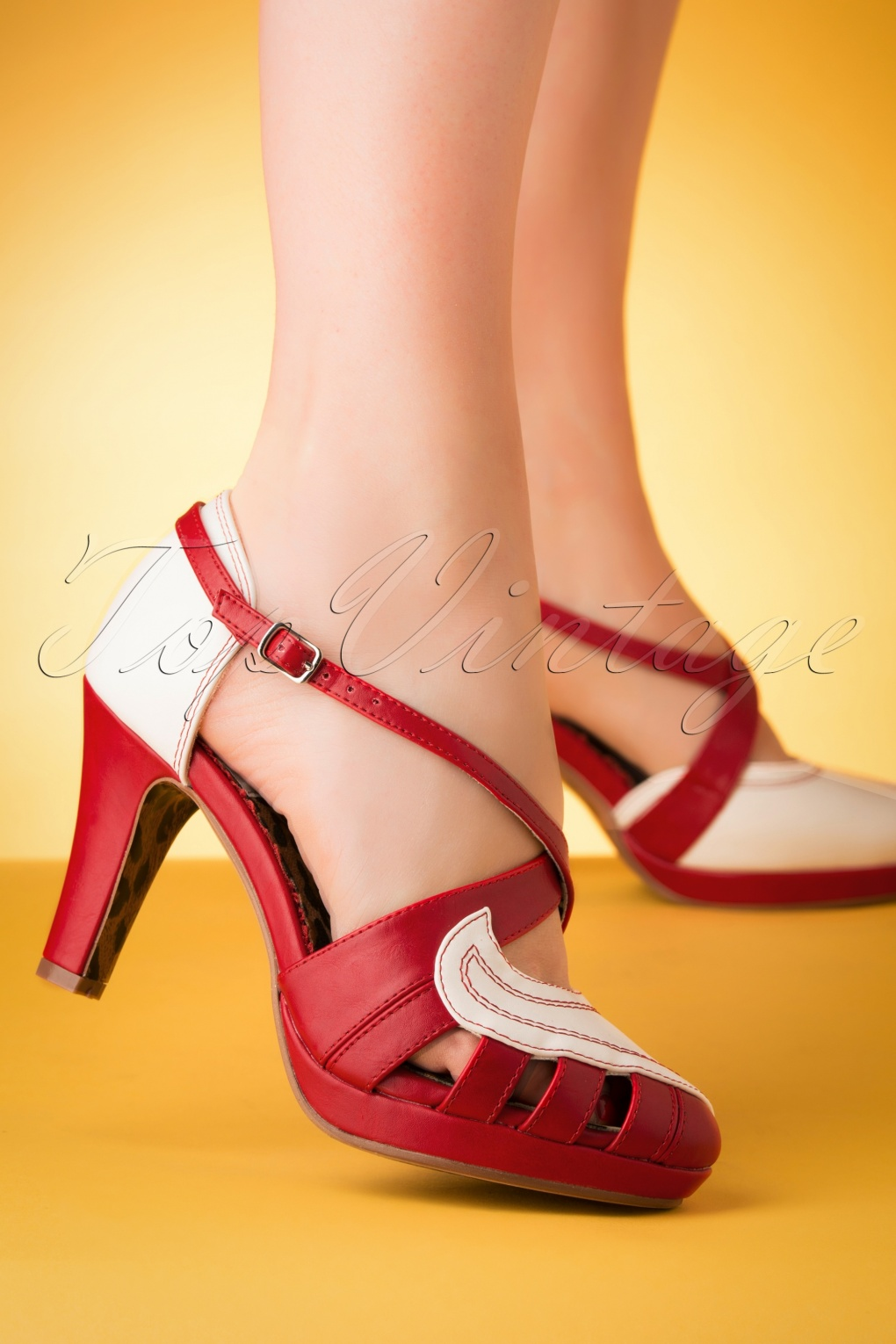 1950s Shoe Styles: Heels, Flats, Sandals, Saddles Shoes 50s Angie Pumps in White and Red �66.44 AT vintagedancer.com