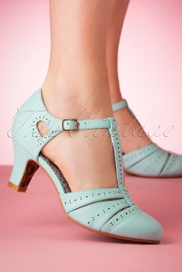 50s Maisie T-Strap Pumps in Blue