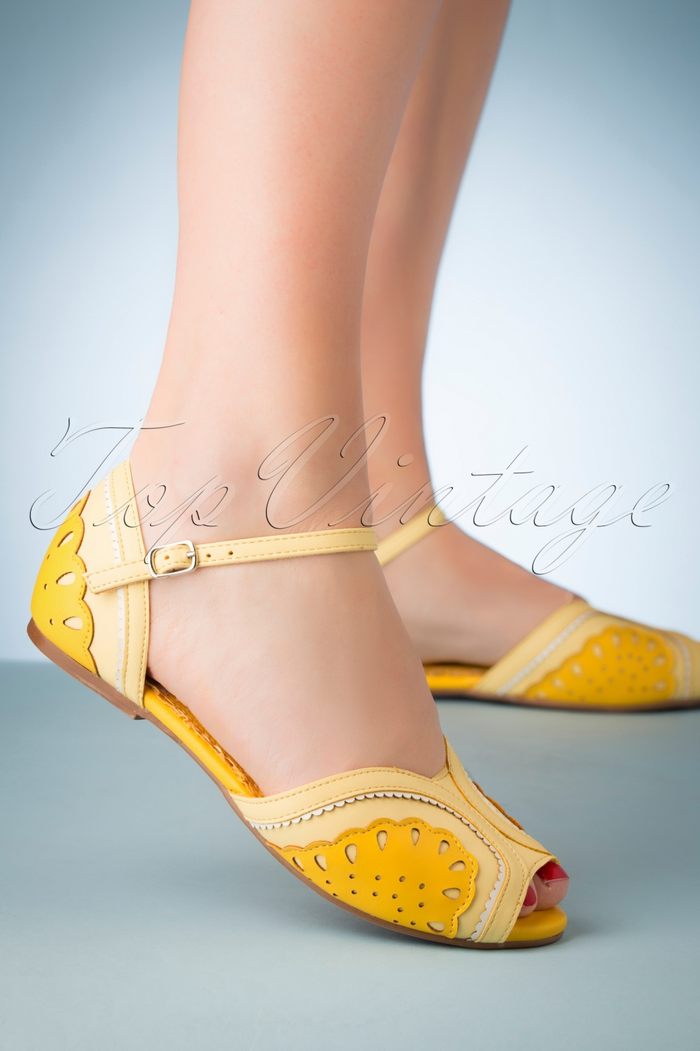 Retro Vintage Flats and Low Heel Shoes 50s Fruitie Peeptoe Flats in Yellow �60.95 AT vintagedancer.com