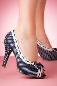Bettie Page Shoes 50s Amelie Peeptoe Pumps in Navy