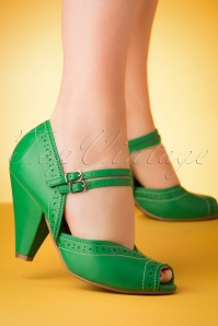 Bettie Page Shoes 50s Nellie Peeptoe Pumps in Green