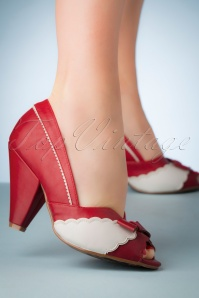 Bettie Page Shoes 50s Margie Peeptoe Pumps in Red
