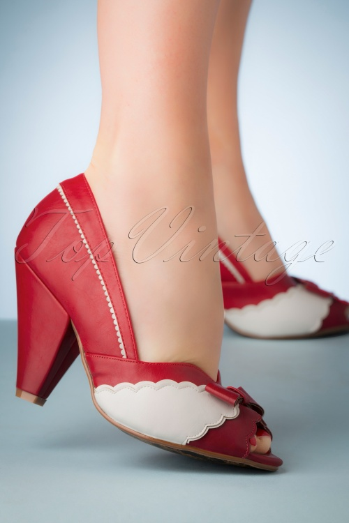 Bettie Page Shoes 28075 Margie Peeptoe Red 20190418 003W
