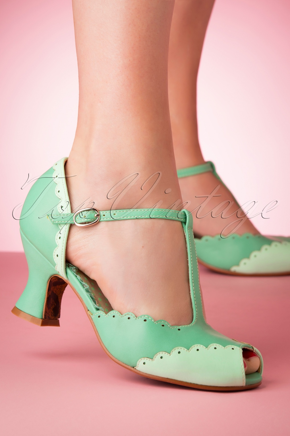Pin Up Shoes- Heels, Pumps & Flats 50s Carlie T-Strap Pumps in Turquoise �60.39 AT vintagedancer.com