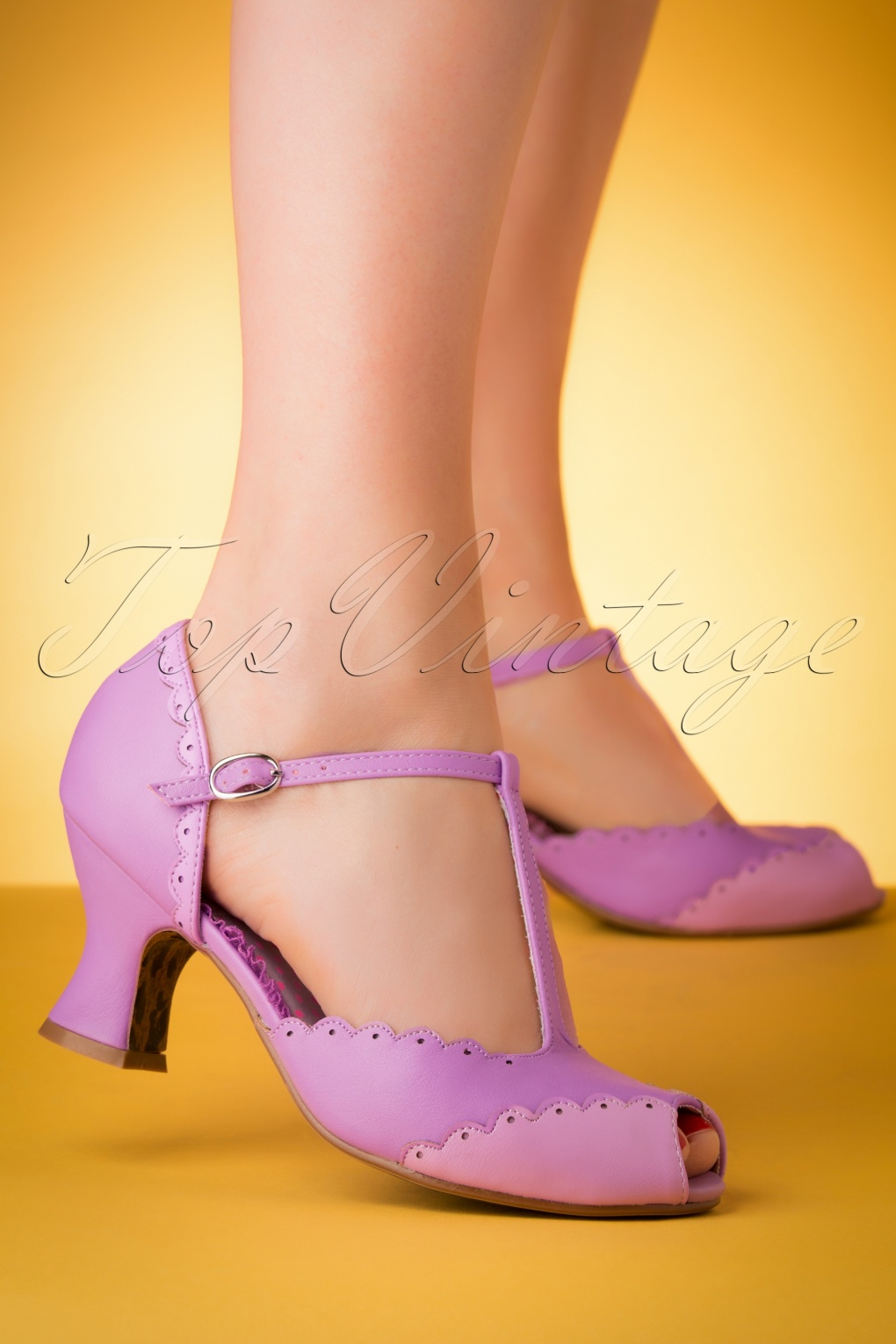 Pin Up Shoes- Heels, Pumps & Flats 50s Carlie T-Strap Pumps in Lavender �60.39 AT vintagedancer.com