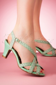 Bettie Page Shoes 50s Gracie Sandals in Mint