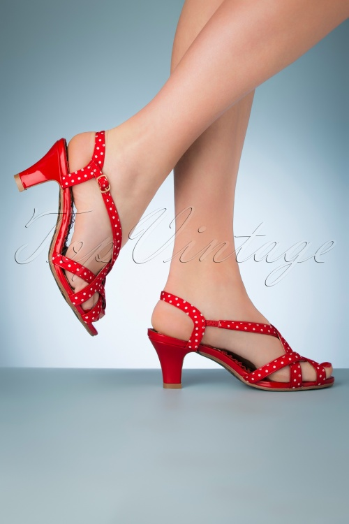 Bettie Page Shoes 28067 Gracie Sandal Red 20190418 011W