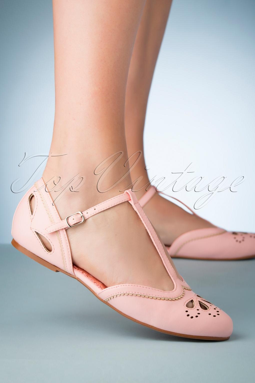 Retro Vintage Flats and Low Heel Shoes 50s Juliet T-Strap Flats in Pink �56.94 AT vintagedancer.com