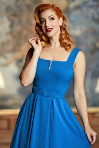Miss Candyfloss 50s Bella Fairytale Swing Dress in Blue