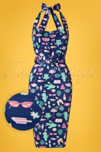 Collectif Clothing 50s Wanda Summer Flamingo Pencil Dress in Navy
