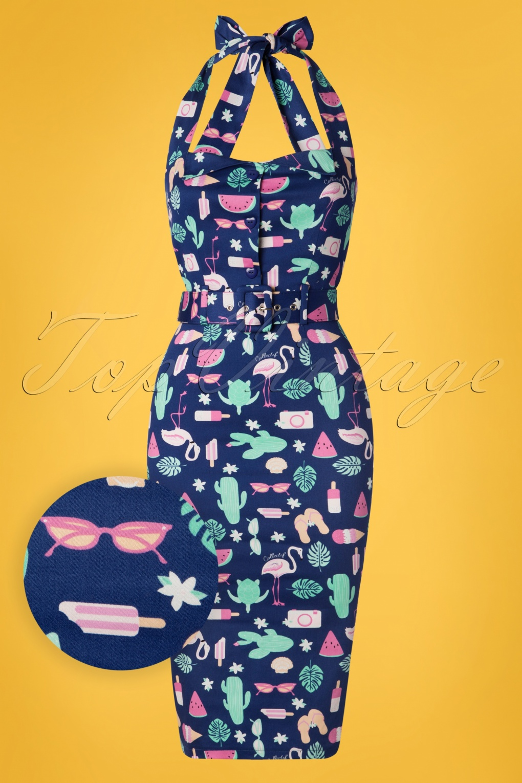 Retro Tiki Dress – Tropical, Hawaiian Dresses 50s Wanda Summer Flamingo Pencil Dress in Navy �48.41 AT vintagedancer.com