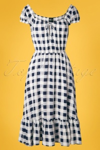 Collectif Clothing 70s Serrina Gingham Swing Dress in Navy and White