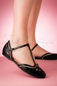 50s Juliet T-Strap Flats in Black