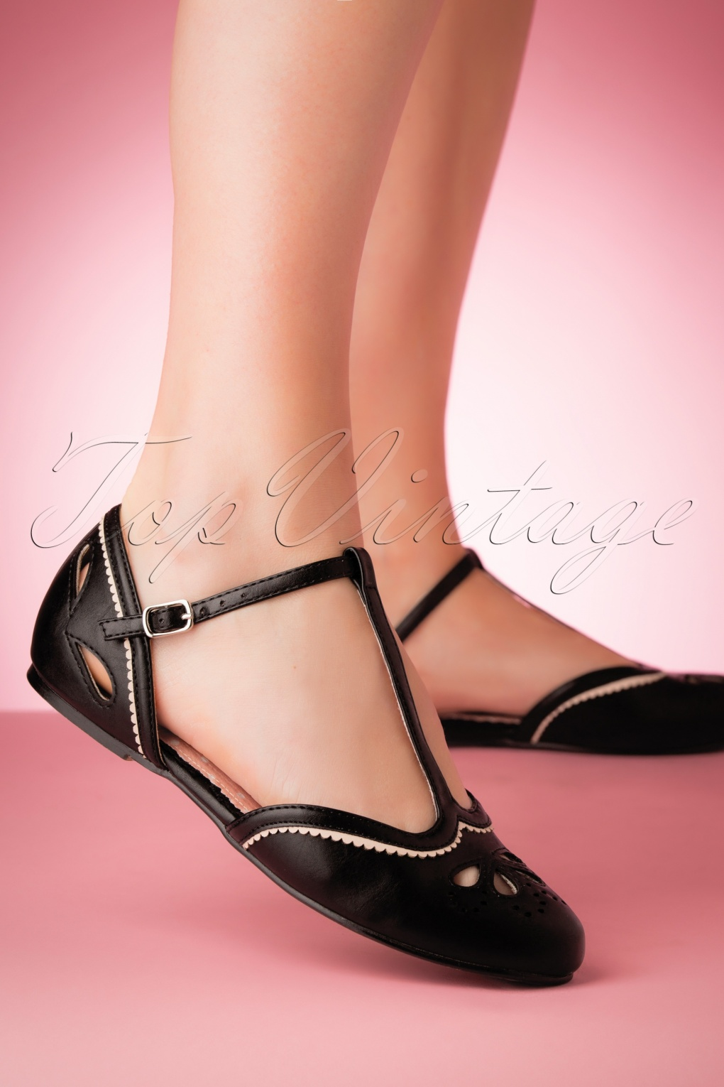1930s Style Shoes – Art Deco Shoes 50s Juliet T-Strap Flats in Black �56.94 AT vintagedancer.com