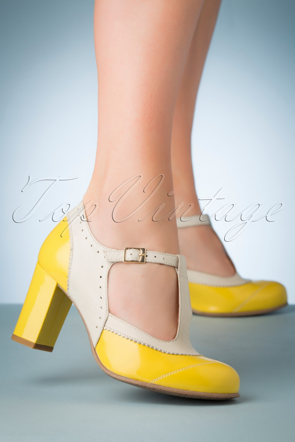 1960s Style Dresses, Clothing, Shoes UK 60s Ada Pumo Leather T-Strap Pumps in Yellow �129.47 AT vintagedancer.com