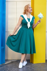 Miss Candyfloss 50s Ida Kat Swing Dress in Teal