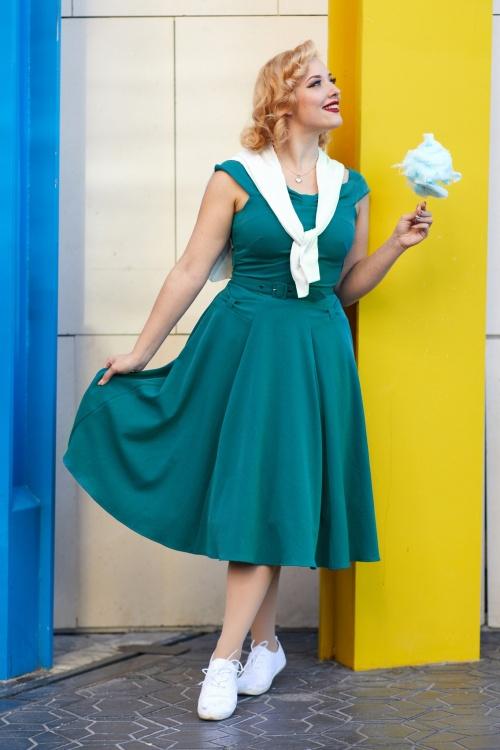 Miss Candyfloss 28668 off shoulder swing dress teal 20190418 021L