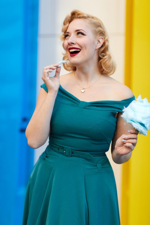 1950s Swing Dresses | 50s Swing Dress 50s Ida Kat Swing Dress in Teal £51.03 AT vintagedancer.com