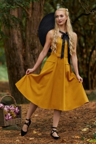 Miss Candyfloss 28682 mustard sleeveless swing dress 20190418 020L