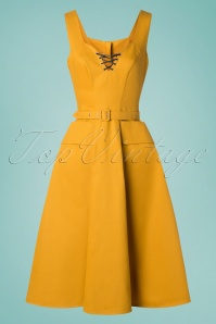 Miss Candyfloss 28682 Mustard Dress 20190423 003W