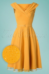 Miss Candyfloss 50s Belle Glittery Swing Dress in Sun Yellow