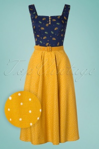 Miss Candyfloss 50s Ingrid Lee Fairytale Swing Dress in Mustard and Navy