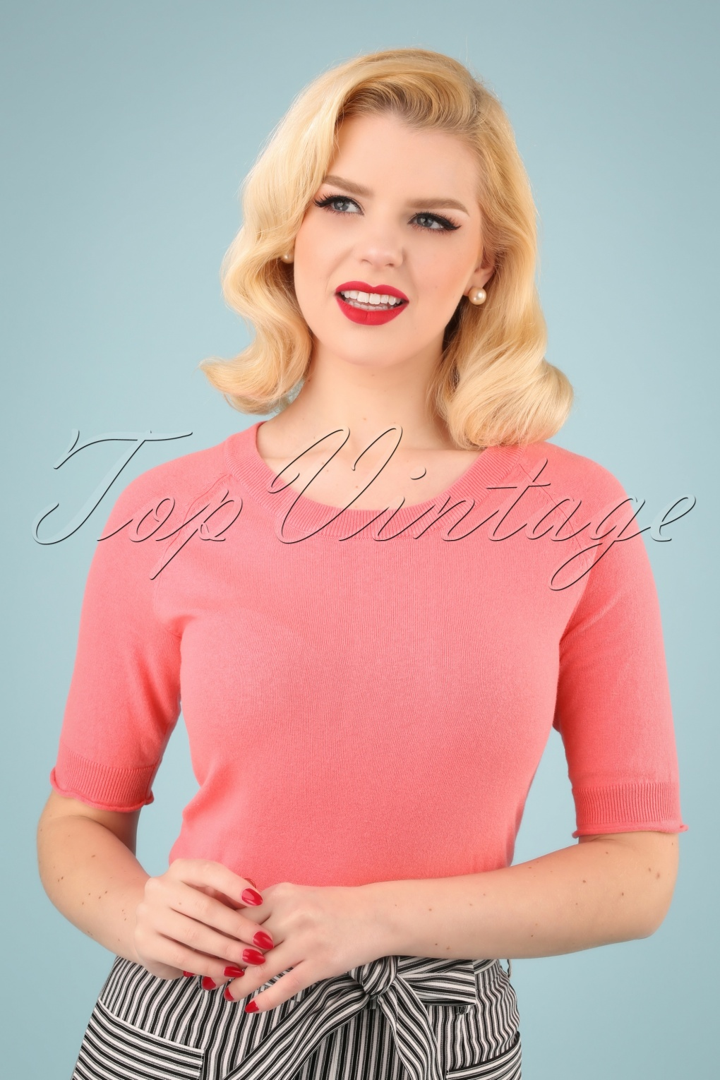 60s 70s Style Sweaters, Cardigans & Jumpers 60s Anky Top in Bubble Gum £37.68 AT vintagedancer.com
