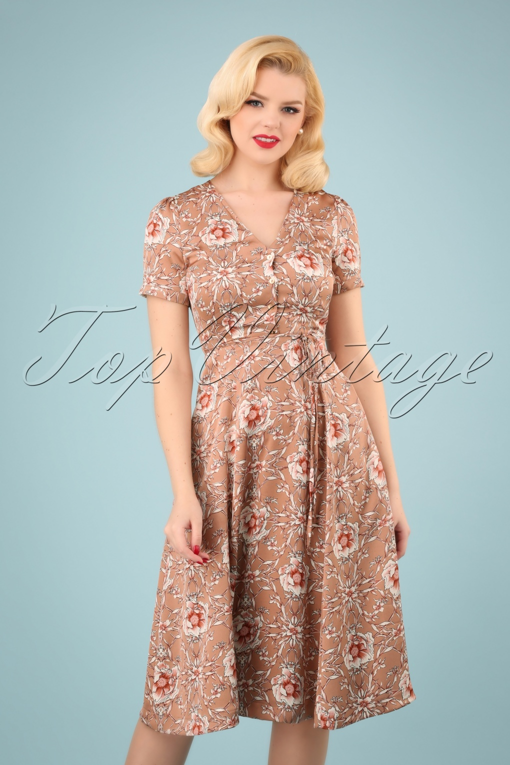1940s Dresses and Clothing UK | 40s Shoes UK 40s Verna Wildrose Midi Dress in Pink �77.66 AT vintagedancer.com