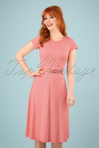 60s A Drink With Beth Dress in Art Deco Peach