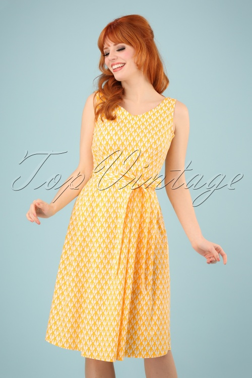 Mademoiselle Yeye 27067 Sing Me A Song Dress Yellow White Red Parrots 20190207 1W