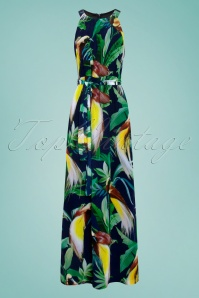 Smashed Lemon 27753 Black Green Tropical Bird Maxi Dress 1W