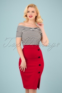 50s Ginny Pencil Skirt in Lipstick Red