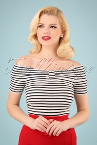 50s Bardot Stripes Rib Top in Black and Ivory