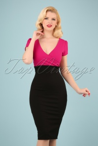 50s Kristy Pencil Dress in Black and Magenta