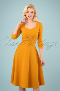 50s Ruby Swing Dress in Gold Yellow
