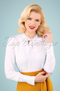 Louche 70s Miki Tie Neck Blouse in White