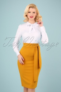 50s Shana Pencil Skirt in Mustard