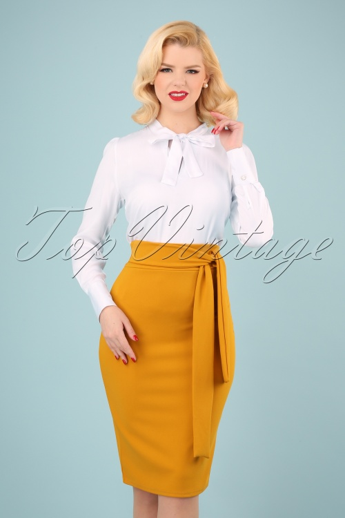 Vintage Chic 28722 Skirt Pencil Mustard 20190207 040W