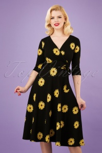 50s Janice Sunflower Swing Dress in Black and Yellow