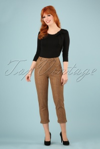 60s Jaylo Prep Check Trousers in Taupe