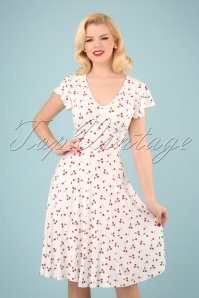50s Rosemary Cherry Swing Dress in Ivory White