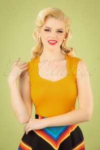 50s Logo Romance Top in Golden Yellow Lantern
