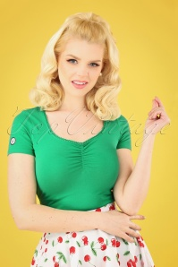 50s Logo Feminin Top in Green Street